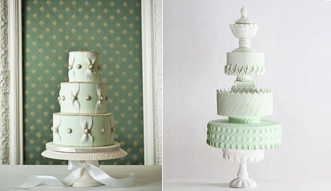mint wedding cakes antique style by Nadia and Co right and via Indulgy.com left