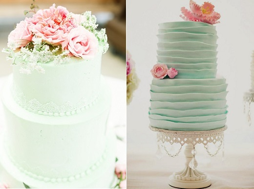 mint wedding cakes by Cathy's Sweet Creations via 100 Layer Cake ,Cassandra Photography left and by Cakes by Christine NY, right