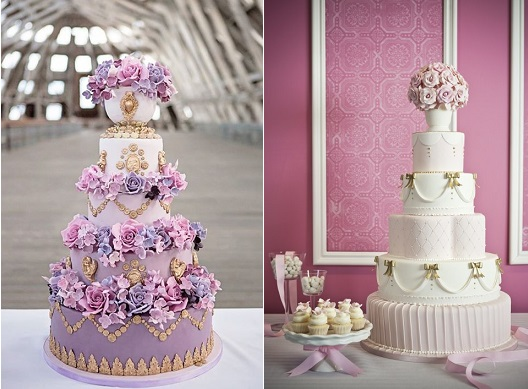 pedestal cakes by Elizabeth's Cake Emporium left and by Luisa Galuppo Cakes right