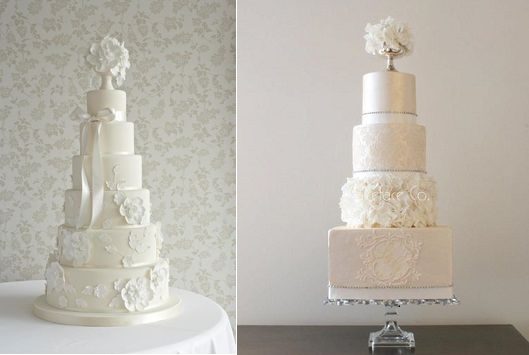 pedestal vase cake toppers cakes by Zoe Clark The Cake Parlour left and Cake Face right