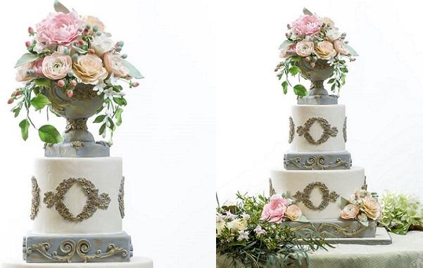 pedestal vase wedding cake antique style by The Flour Garden