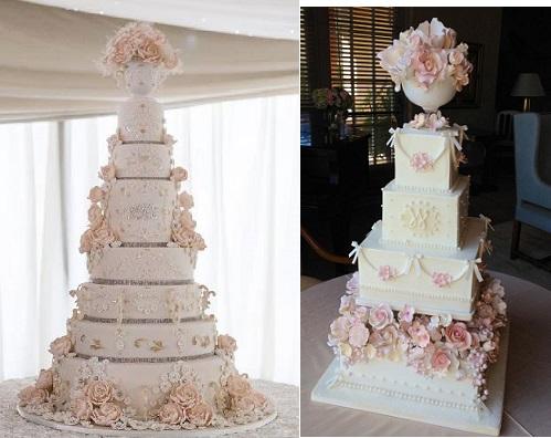 pedestal vase wedding cake by Garrods Wedding Cakes left and via Juxtapost right