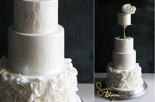 pedestal vase wedding cake by Sweet Bloom Cakes, Australia