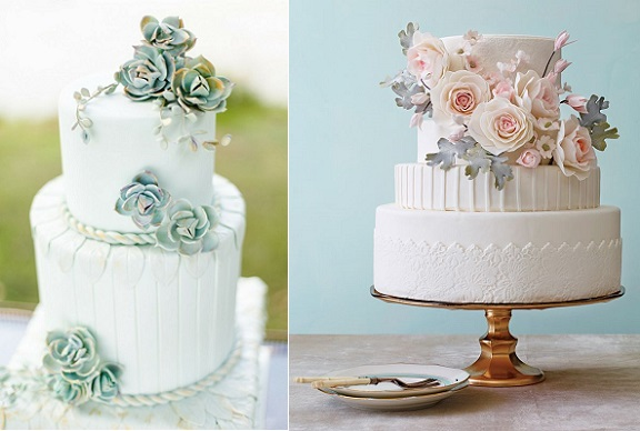 succulent wedding cake by Cakes by Krishanthi left and silvery foliage and pink floral cake by Nine Cakes right