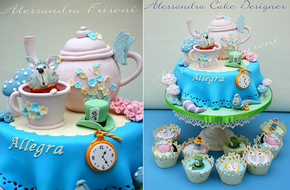 teapot cake Alice in Wonderland Mad Hatter tea party cake by Alessandra Frisoni Cake Studio