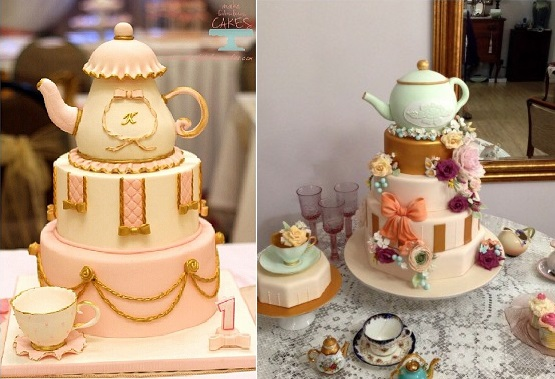 teapot cakes by Make Fabulous Cakes left and by Blue Cactus on Cake Central right
