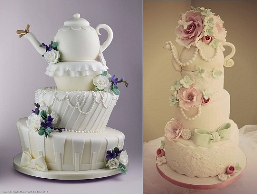 teapot cakes by Sandra Monger Cakes left with Robin Pakes and by Katie's Cupcakes right