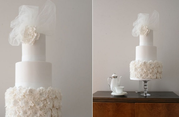 veil wedding cake with tulle and ruffles
