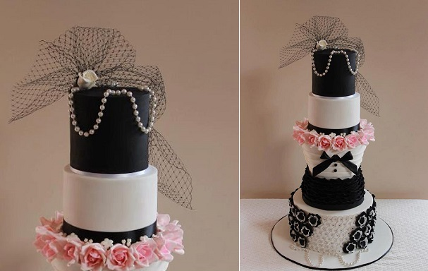 vintage birdcage veil wedding cake by Miss Couture