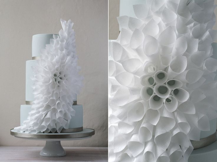 wafer paper flower wedding cake by Olofson Design UK