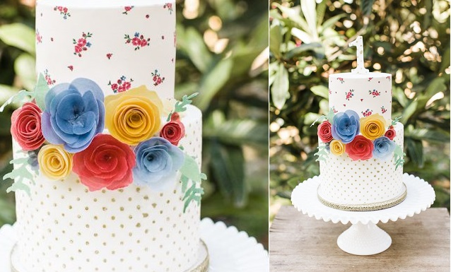 wafer paper flowers 1st birthday cake by Stevi Auble, Ashley Keleman Photography via 100 Layer Cakelet
