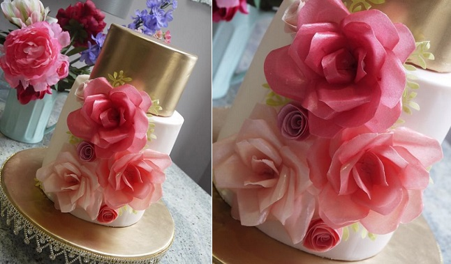 wafer paper flowers and metallic gold wedding cake by Michelle Keel, Scummy Mummys