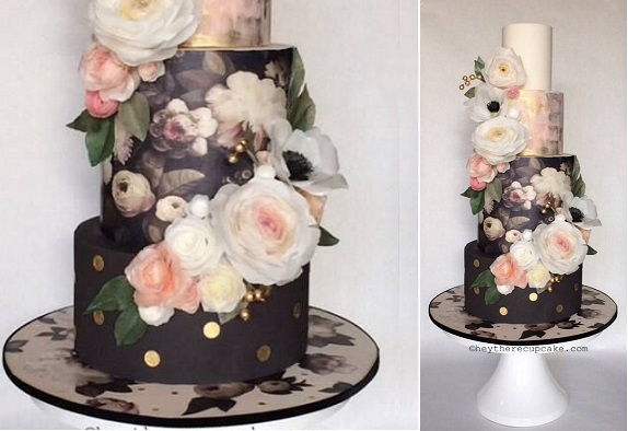 wafer paper flowers cake handpainted from Hey There Cupcake