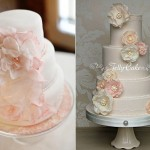 wafer paper flowers cakes by Missy's Custom Cakes left and Jelly Cake UK right