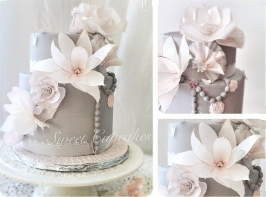 wafer paper flowers vintage style cake by Lorena Gil Vasquez, More Sweet Cupcakes, Switzerland