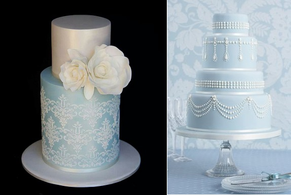 wedgewood blue wedding cake right by Peggy Porschen and blue damask wedding cake left via Pinterest