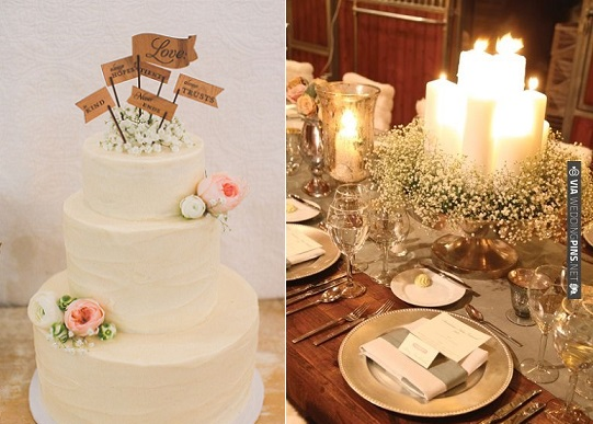 Baby's Breath wedding cake, image via Corinthians Flowers via Utterly Engaged left and image right via Wedding Pins