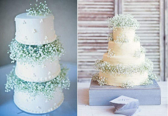 Baby's Breath wedding cake via Exquisite Weddings Magazine and by Half Orange Photography via Style Me Pretty