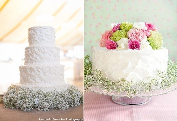 Baby's Breath wedding cakes, Alexandra Tremaline Photography left