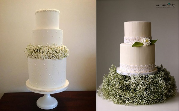 Baby's Breath wedding cakes by The Flour Girl left and by Consumed by Cake right