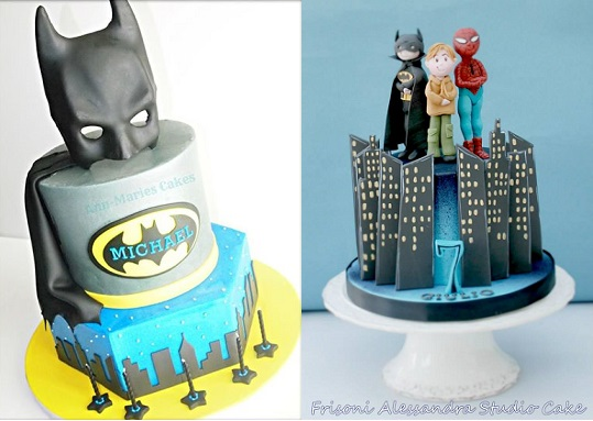 Batman cakes by Ann Marie's Cakes left and by Alessandra Frisoni Cake Studio right