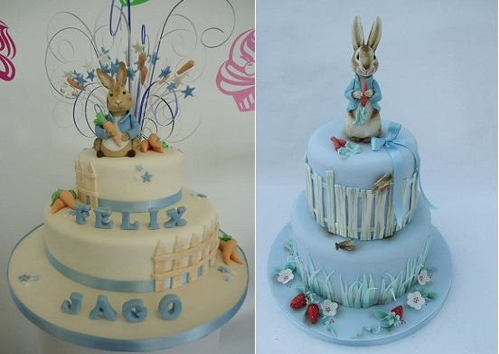 Beatrix Potter cakes Peter Rabbit cakes by Cakes Chester left and Emma Jayne Cake Design right