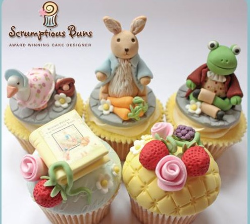 Beatrix Potter cupcakes by Scumptious Buns