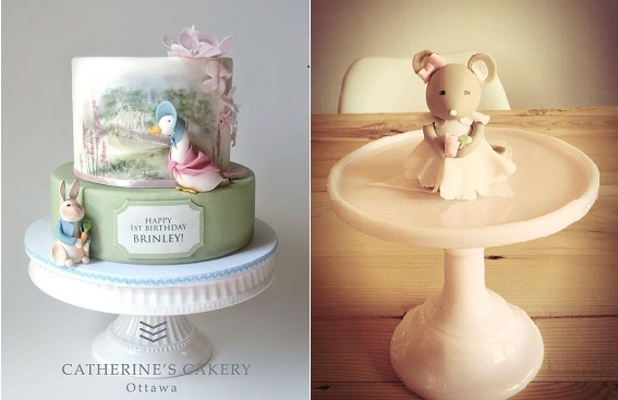 Beatrix Potter cake by Catherine's Cakery, Ottawa left and Petite Homemade right