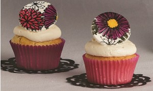 hand-stamped cupcake toppers by Erin Gardner