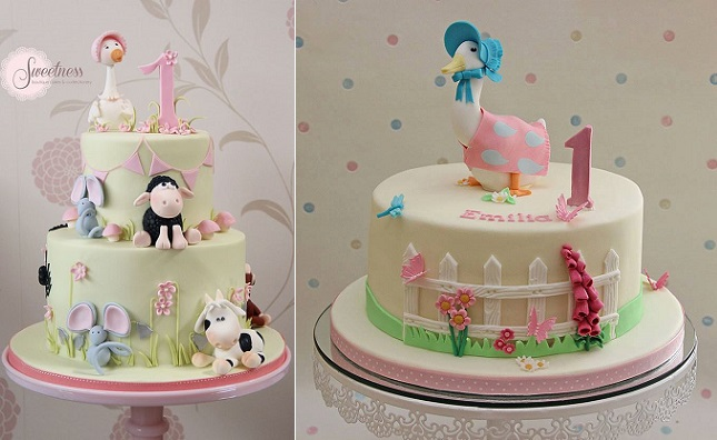 Jemima Puddle Duck cakes Beatrix Potter cakes by Sweetness Boutique Cakes and Confectionery left and Cakes by Christine UK right