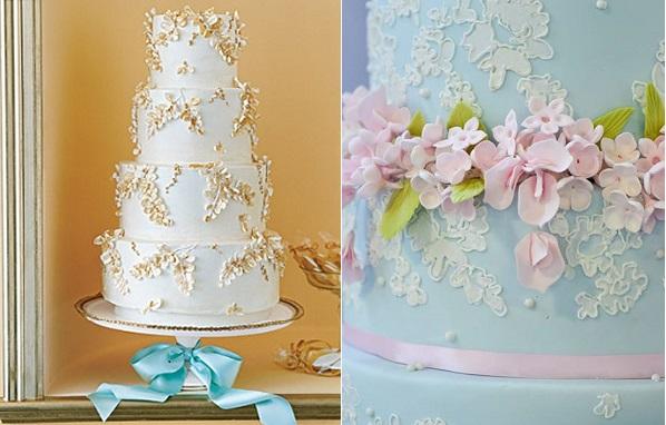 autumn wedding cake from Martha Stewart Weddings left and sweet pea wedding cake by Elizabeth's Cake Emporium right