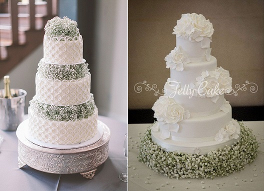 baby's breath wedding cakes by Parkland Cakes left, Kathleen Meelia Photography via SMP and by Jelly Cakes right