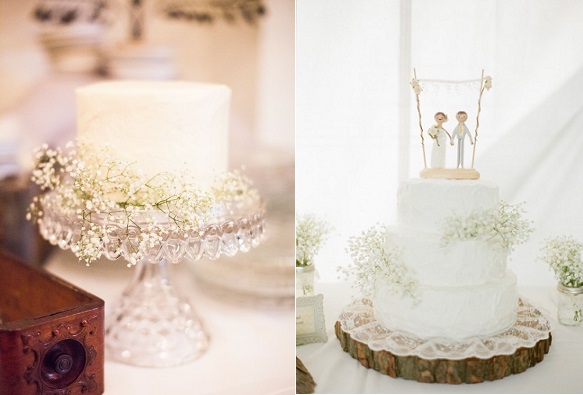 baby's breath wedding cakes via Style Me Pretty, Nancy Neil Photography left and McCartney's Photography right