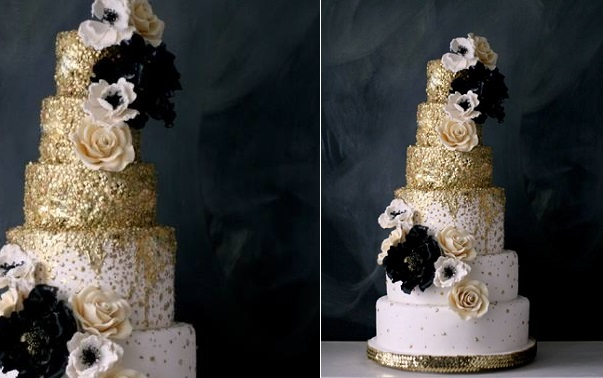 edible sequins wedding cake in gold and pale pink by The Caketress