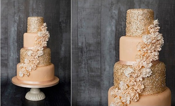 gold sequins wedding cake and peach by Amanda's Cakes, Blue Lights Photography UK