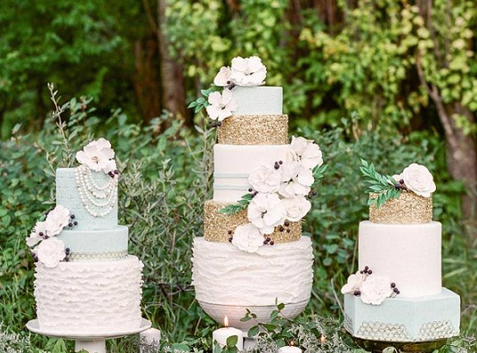 gold sequins wedding cakes in sage green by Jenna Rae with Brittany Mahood and Ashley Illchuk
