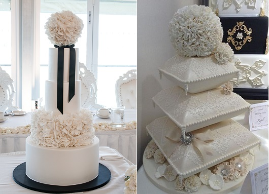 pomander-cake-toppers-by-The-Cupcake-Lady-inspired-by-Yummy-Cupcakes-left-and-Garrods-Wedding-Cakes-right