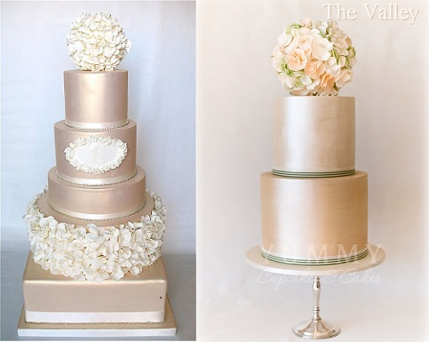 pomander wedding cakes by Kathy's Little Cakery left and Yummy Cupcakes  & Cakes right