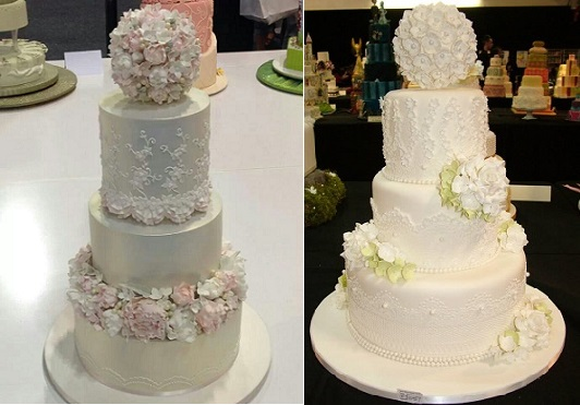 pomander wedding cakes from x left and from Manchester Cake International right