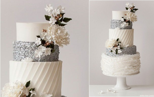 sequins wedding cake by Jenna Rae Cakes