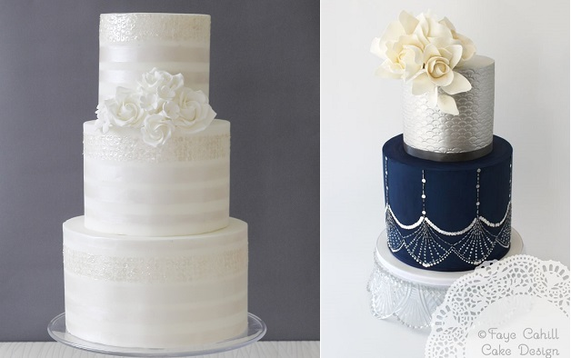 sequins wedding cake in pale gold by Abigail Bloom Cake Design left and sequins wedding cake by Faye Cahill right