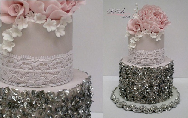 silver sequins vintage wedding cake with lace by DeVoli Cakes