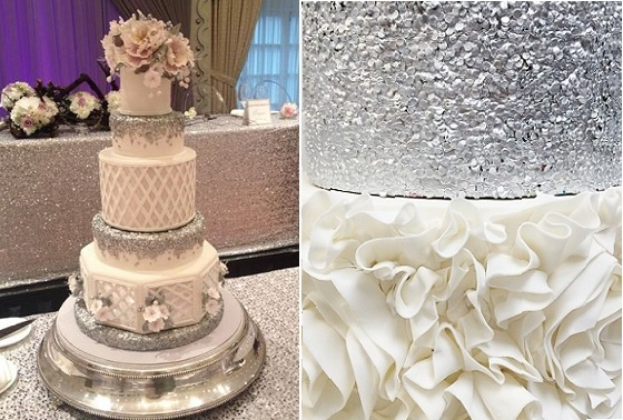 silver sequins wedding cake by Anna Elizabeth Cakes left and edible sequins cake by Jenna Rae Cakes right