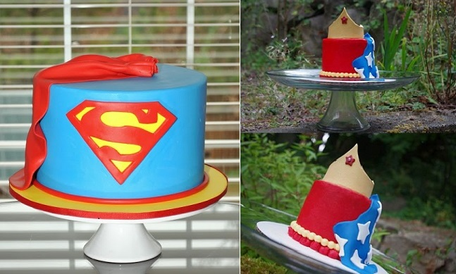 superman cake by Hopes Sweet Cakes and Wonder Woman cake by All The Kings Horses Cake Creations