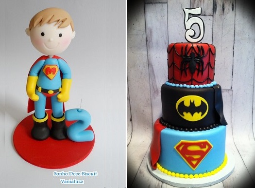 superman cake topper by Sonho Doce Biscuit Vanialuzz left and superhero cake by Custom Cakes by Susan, WY