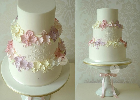 trailing sugar flowers wedding cake by The Designer Cake Company