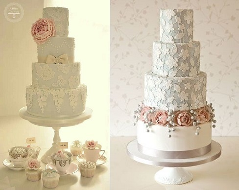 trailing sugar flowers wedding cakes by Cotton & Crumbs left and Rachelle's right