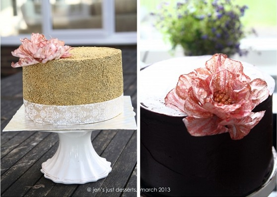 wafer paper flower cakes by Jen's Just Desserts