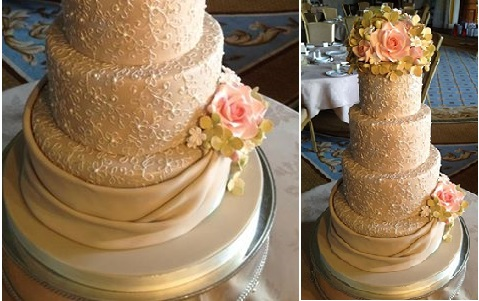 wedding dress inspired cake by Dreamworld Cakes, Newcastle