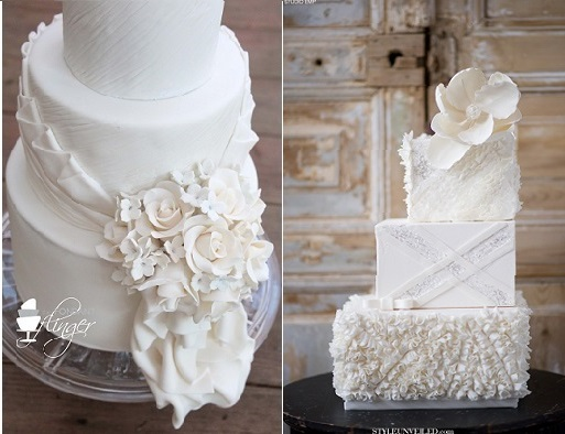 wedding dress inspired cake by The Fondant Flinger left and by the Rooney Girl Bakeshop right